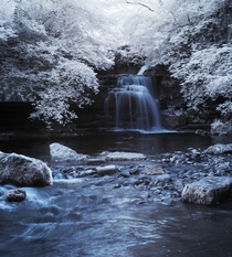 Cray Falls in Infrared Yorkshire Dales - with my converted Canon D