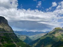 Crazy clouds and breathtaking views overlooking part of the Highline Trail in Glacier National Park Montana