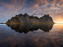 Crazy reflection of Vestrahorn mountain in Iceland