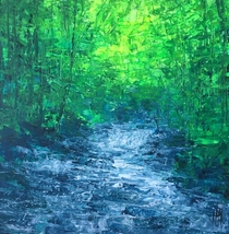 Creek flow at Rickets Glen State Park PA acrylic painting