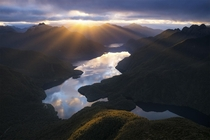 Crepuscular rays over George Sound New Zealand OC x williampatino_photography