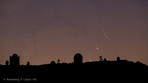 Crescent Moon and Venus rising