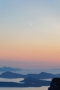 Crescent moon over the Adriatic Croatia