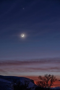 Crescent Moon with Saturn and Jupiter - Gunnison Colorado