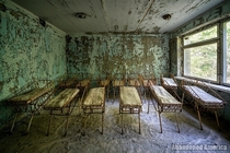 Cribs in abandoned hospital Chernobyl Exclusion Zone