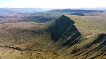Cribyn from the summit of Pen y Fan Brecon Beacons South Wales