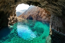 Crisp Shot of Transparent Emerald Waters in Myconos Greece   x