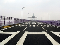 Crossing the Hangzhou Bay Bridge China by Rainer Ganahl