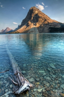 Crystal clear Bow Lake off the Icefields Parkway Alberta Canada