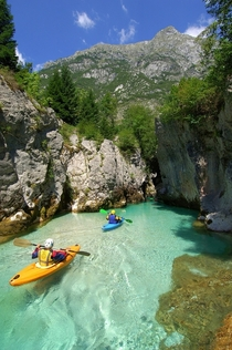 Crystal clear kayaking in Slovenia
