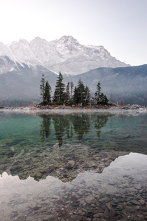 Crystal clear water and a perfect reflection at Lake Eibsee