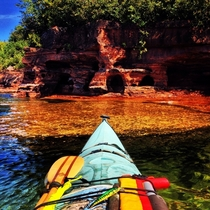 Crystal clear water  underwater rock formations at the Apostle Islands WI