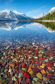Crystal clear waters of Lake McDonald Montana