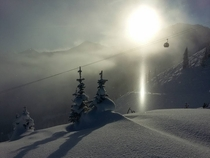 Crystal Mountain WA with a subsun a type of halo