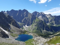 Crystal water in one of the mountain lakes in the high parts of Bielovodsk Valley in Slovakian Tatras  x