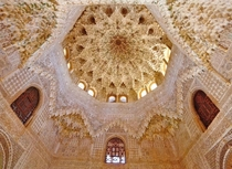 Cupola of the hall of the two sisters in Alhambra Granada