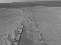 Curious tracks on Mars Taken from JPL PIA panorama