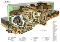 Cutaway diagram of the Wyfla Nuclear Power Station Anglesey North Wales