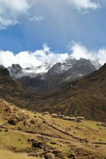 Cutting through the Peruvian Andes saw this tiny village tucked into the landscape