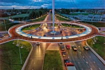 Cyclist roundabout and walkway - Hovenring Eindhoven The Netherlands