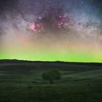 Cygnus region and Aurora Borealis in Saskatchewan