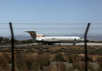 Cyprus Airways trident aircraft sits abandoned on the runway of the equally abandoned Nicosia airport Cyprus c Katia Christodoulou