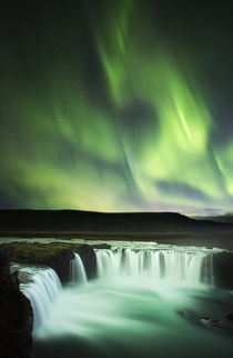 Dancing over Goafoss the most magnificent display of northern lights Ive ever seen Iceland