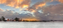 Danish Winter Landscape Sunrise