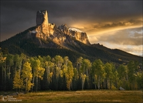 Dark Golden Towers Chimney Rock National Monument CO  Photo by Zack Schnepf x-post from runitedstatesofamerica