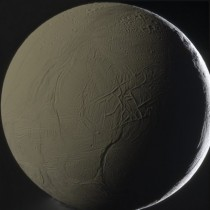 Dark side of Enceladus lit by Saturn Cassini image taken January