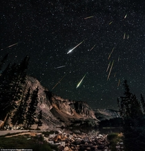 David Kinghams image of a Perseid Meteor Shower over a mountain range