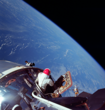 David Scott looks out on the earth from his Apollo  command module
