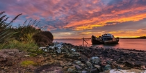 Dawn at the ship graveyard at Greenpoint near Bluff Invercargill Southland New Zealand  Photo by Grant Grieve