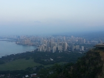 Dawn over Honolulu Hawaii from the top of Diamondhead