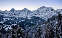 Dawn over the Swiss skyline - Eiger Mnch and Jungfrau near Lauterbrunnen Switzerland