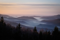 Dawn over the Williams River Valley in the Allegheny Mountains of West Virginia USA