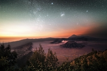 Dawn splits the night over the Bromo Tengger Semeru National Park Indonesia