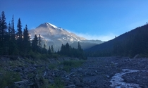 Day breaking on Mt Rainier west side of the Wonderland Trail WA