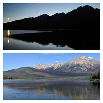 Day or night the views are amazing Pyramid Lake and Pyramid Mountain Japser Ab Canada -