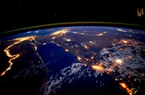 Day  The Nile at night is a beautiful sight for these sore eyes Good night from the space station - Scott Kelly