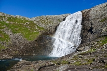 Days pass between each time this huge waterfall is seen by human eyes It does not even have a name but its located two days of walking from where Lomsdal-Visten National Park Norway begins