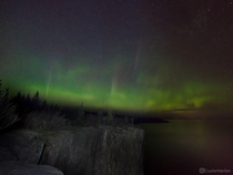 Dazzling display of northern lights from Palisade Head in Minnesota