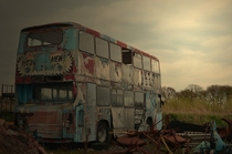 Dead bus on a remote farm in Westhoughton Bolton England