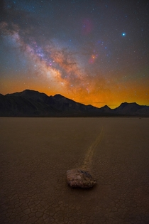 Death Valleys famous sailing stones under the Milky Way