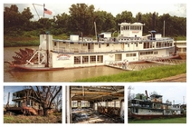 Decay of the Mamie S Barrett Steamboat The top photo was taken around  and the bottom photos in  before the boat caught on fire along the banks of the Mississippi