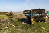 Decaying boats on the River Medway UK