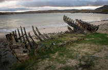 Decaying remains of a boat in Tongue Scotland oc