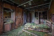 Decaying room in an abandoned hotel