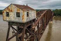 Decommissioned bridge over the Missouri River
