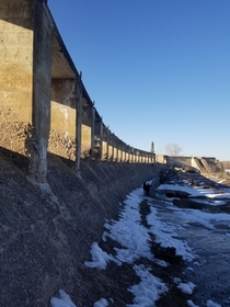 Decommissioned Hydro Dam spillway built  Manitoba Canada